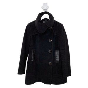 Mackage Dark Gray High Neck Leather Trim Wool Coat